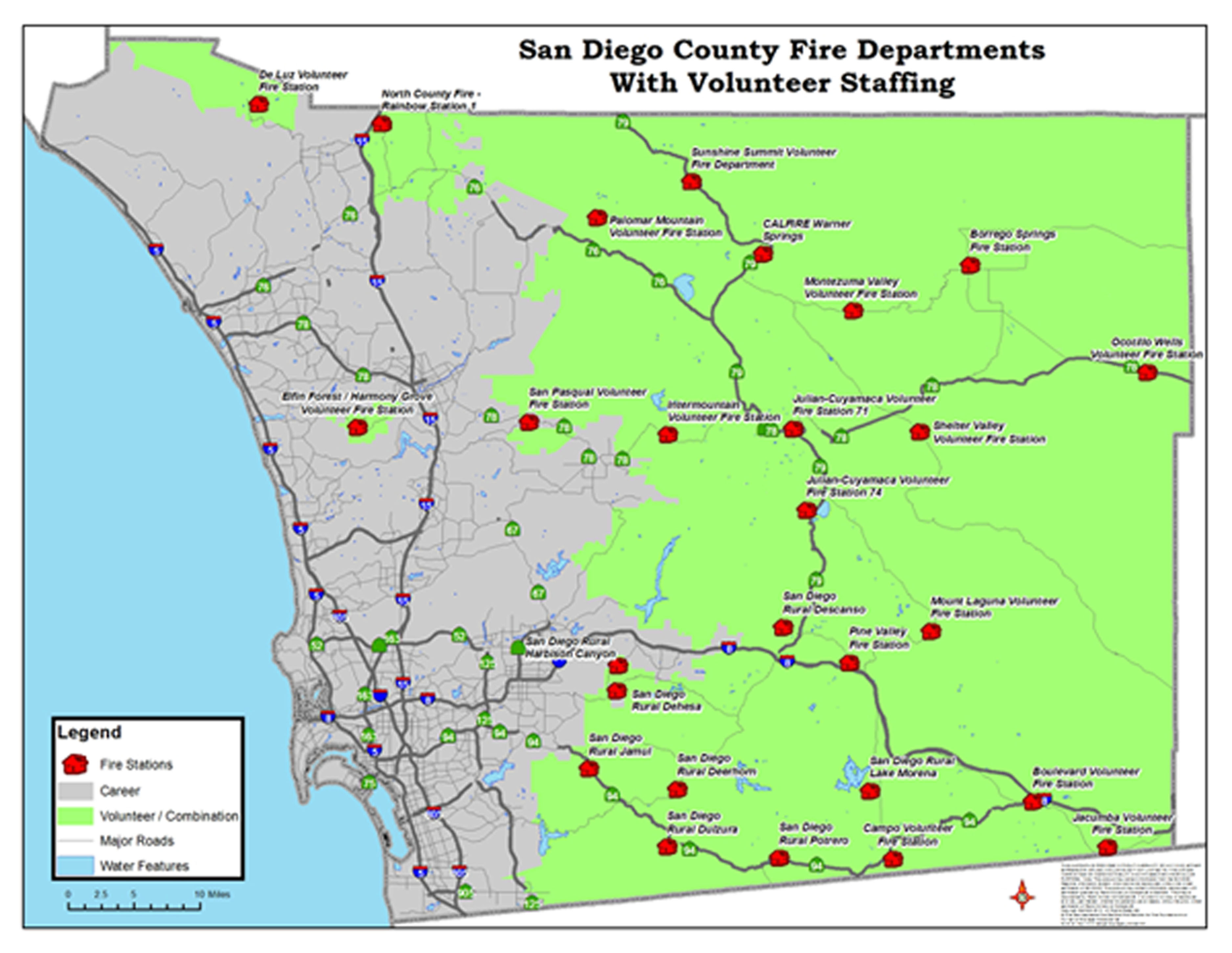 San Diego County Fire Station map